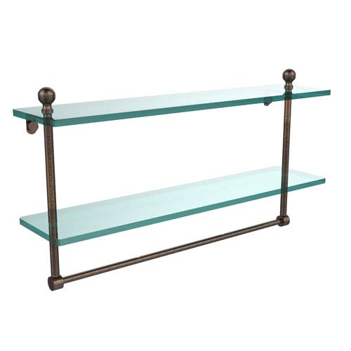 Allied Brass Mambo Collection 22 Inch Two Tiered Glass Shelf with Integrated Towel Bar, Venetian Bronze