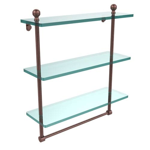 Allied Brass Mambo Collection 16 Inch Triple Tiered Glass Shelf with Integrated Towel Bar, Antique Copper