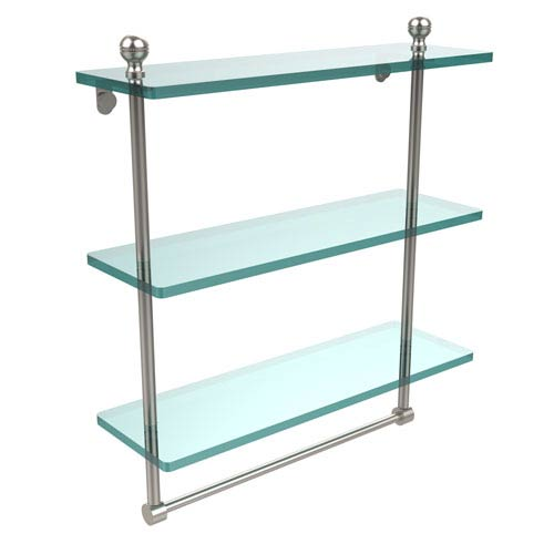 Allied Brass Mambo Collection 16 Inch Triple Tiered Glass Shelf with Integrated Towel Bar, Satin Nickel