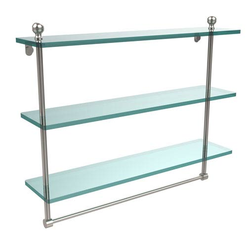 Allied Brass Mambo Collection 22 Inch Triple Tiered Glass Shelf with Integrated Towel Bar, Satin Nickel