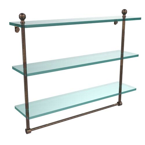 Allied Brass Mambo Collection 22 Inch Triple Tiered Glass Shelf with Integrated Towel Bar, Venetian Bronze