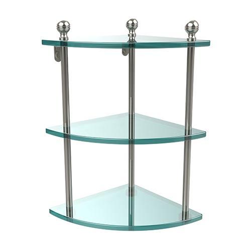 Polished Nickel Triple Corner Glass Shelf