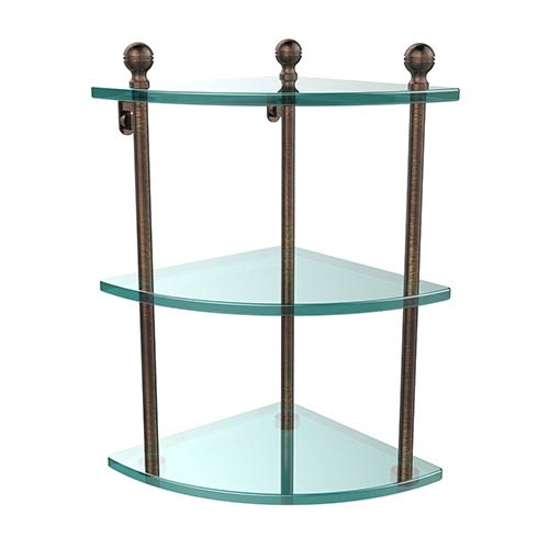 Venetian Bronze Triple Corner Glass Shelf