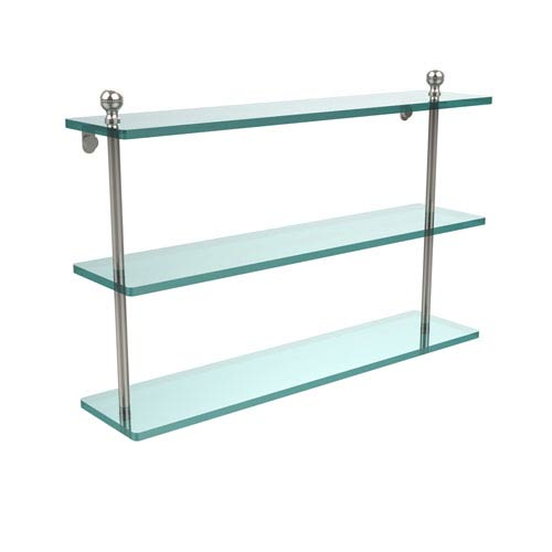 Polished Nickel 22 Inch Triple Glass Shelf