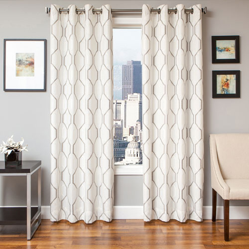 Softline Home Fashions Marina White Silver 96 x 55 In. Geometric Embroidered Linen Panel