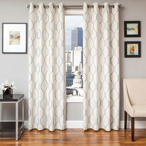 Softline Home Fashions Marina White Blue 84 x 55 In. Geometric Embroidered Linen Panel