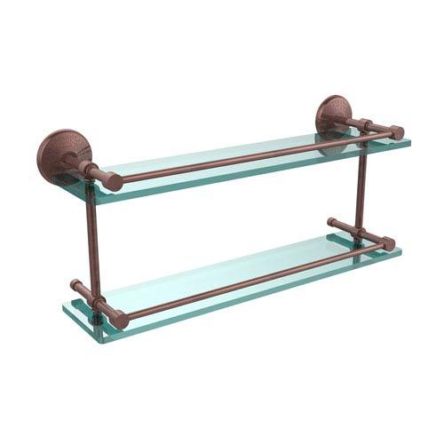Monte Carlo 22 Inch Double Glass Shelf with Gallery Rail, Antique Copper