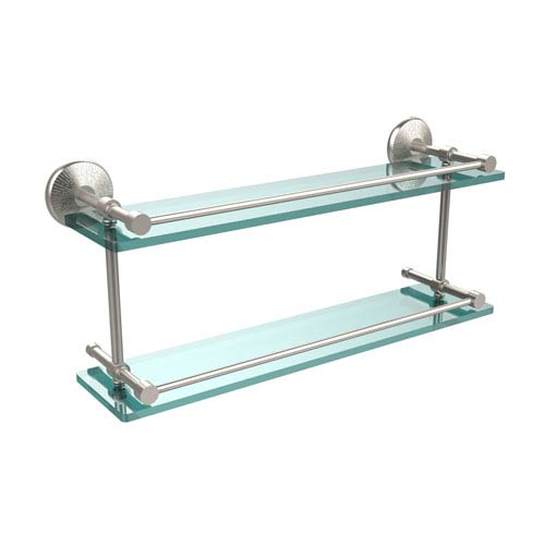 Monte Carlo 22 Inch Double Glass Shelf with Gallery Rail, Satin Nickel
