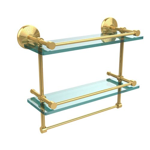 Monte Carlo Collection 16 Inch Gallery Double Glass Shelf with Towel Bar, Unlacquered Brass