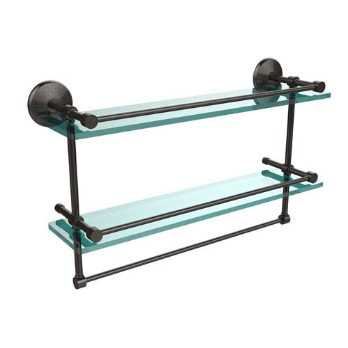 Allied Brass 22 Inch Gallery Double Glass Shelf with Towel Bar, Oil Rubbed Bronze