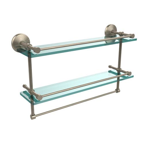 Allied Brass 22 Inch Gallery Double Glass Shelf with Towel Bar, Antique Pewter