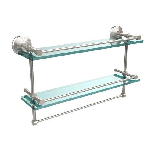 Allied Brass 22 Inch Gallery Double Glass Shelf with Towel Bar, Satin Nicke