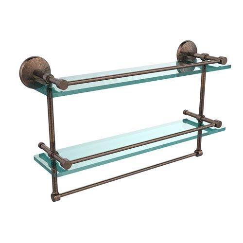 Allied Brass 22 Inch Gallery Double Glass Shelf with Towel Bar, Venetian Bronze