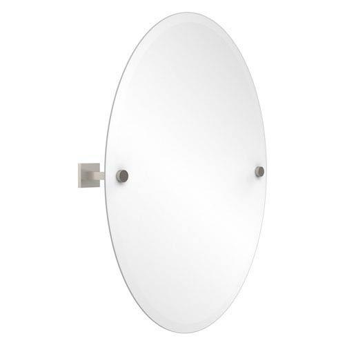 Montero Satin Nickel Frameless Oval Tilt Mirror with Beveled Edge
