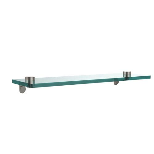 16 Inch Glass Vanity Shelf with Beveled Edges, Satin Nickel