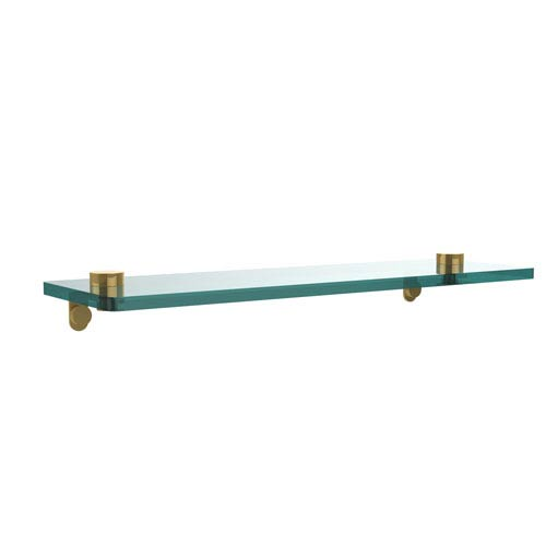 16 Inch Glass Vanity Shelf with Beveled Edges, Unlacquered Brass