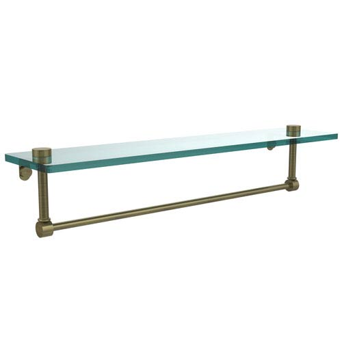 22 Inch Glass Vanity Shelf with Integrated Towel Bar, Antique Brass