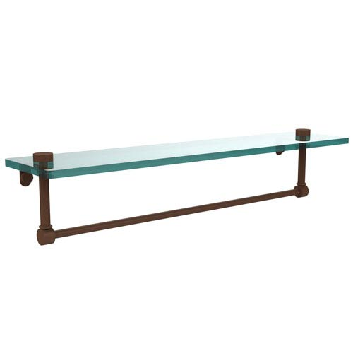 Allied Brass 22 Inch Glass Vanity Shelf with Integrated Towel Bar, Antique Bronze