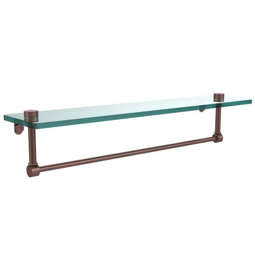 22 Inch Glass Vanity Shelf with Integrated Towel Bar, Antique Copper