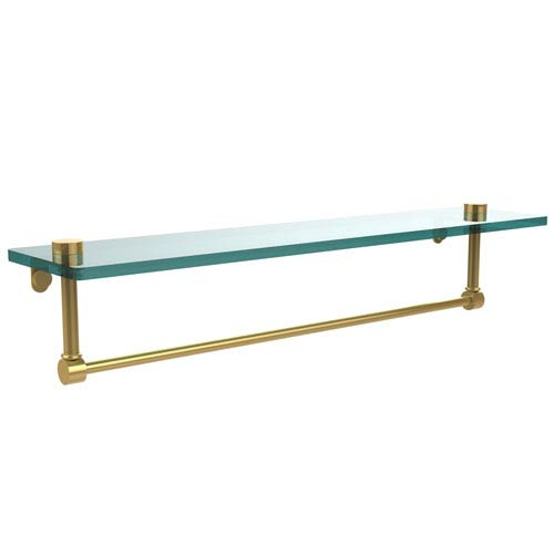 22 Inch Glass Vanity Shelf with Integrated Towel Bar, Polished Brass