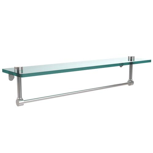 22 Inch Glass Vanity Shelf with Integrated Towel Bar, Polished Chrome