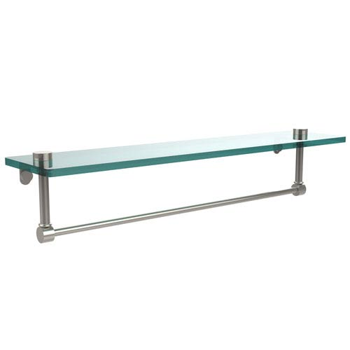 Allied Brass 22 Inch Glass Vanity Shelf with Integrated Towel Bar, Polished Nickel