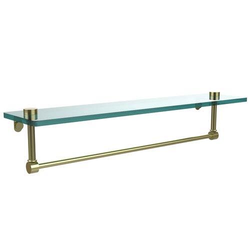 Allied Brass 22 Inch Glass Vanity Shelf with Integrated Towel Bar, Satin Brass
