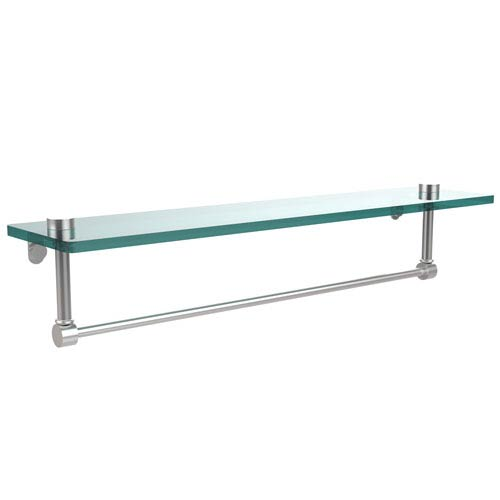 Allied Brass 22 Inch Glass Vanity Shelf with Integrated Towel Bar, Satin Chrome