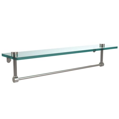 22 Inch Glass Vanity Shelf with Integrated Towel Bar, Satin Nickel