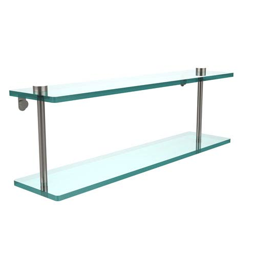 Allied Brass 22 Inch Two Tiered Glass Shelf, Satin Nickel