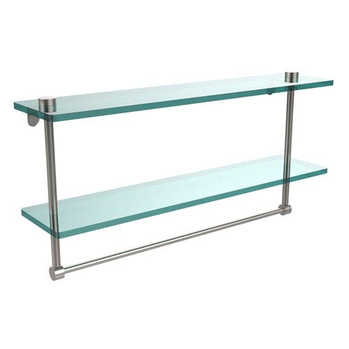 22 Inch Two Tiered Glass Shelf with Integrated Towel Bar, Satin Nickel