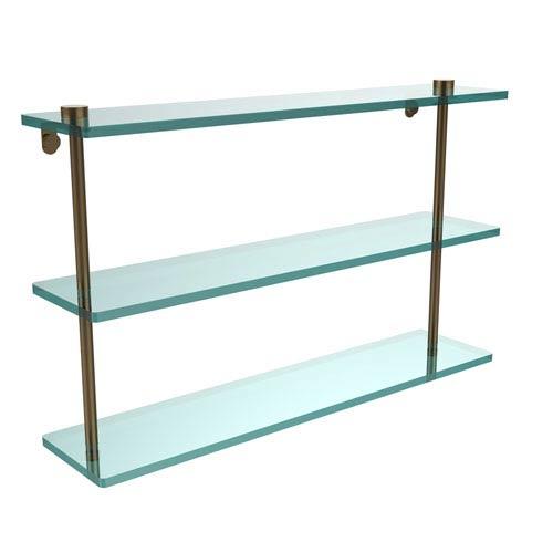 22 Inch Triple Tiered Glass Shelf, Brushed Bronze