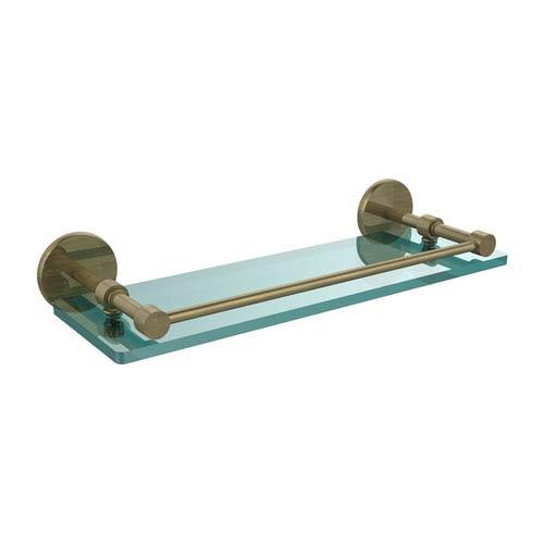 Allied Brass 16 Inch Tempered Glass Shelf with Gallery Rail, Antique Brass