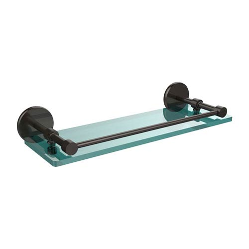 Allied Brass 16 Inch Tempered Glass Shelf with Gallery Rail, Oil Rubbed Bronze