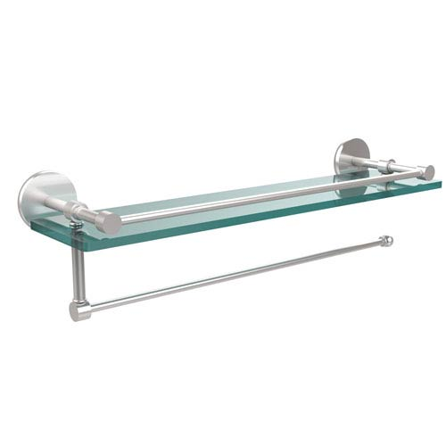 Prestige Skyline Collection Paper Towel Holder with 16 Inch Gallery Glass Shelf, Satin Chrome