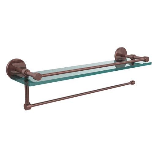 Prestige Skyline Collection Paper Towel Holder with 22 Inch Gallery Glass Shelf, Antique Copper