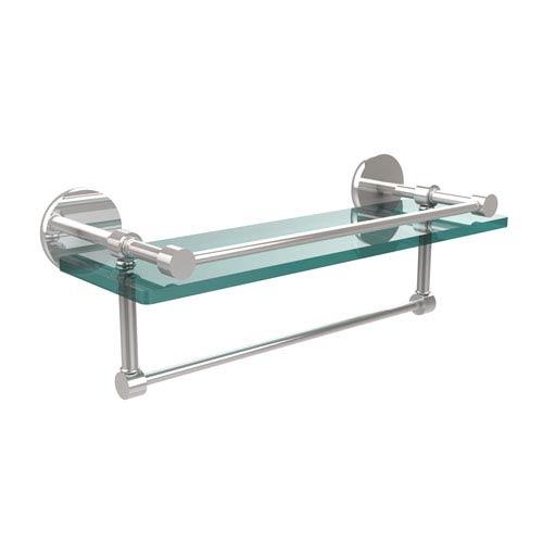 Allied Brass 16 Inch Gallery Glass Shelf with Towel Bar, Polished Chrome