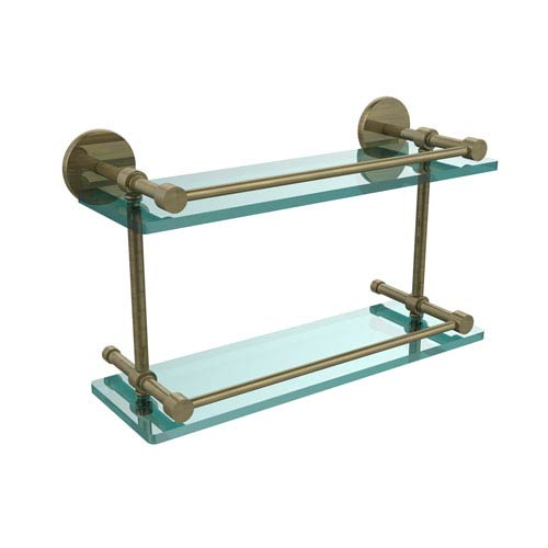 Allied Brass 16 Inch Tempered Double Glass Shelf with Gallery Rail, Antique Brass