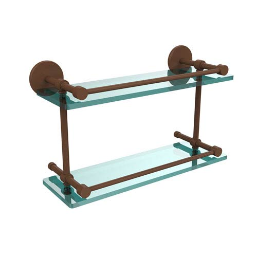 Allied Brass 16 Inch Tempered Double Glass Shelf with Gallery Rail, Antique Bronze