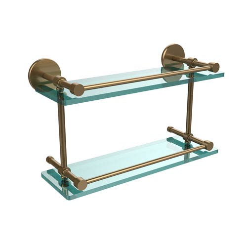 Allied Brass 16 Inch Tempered Double Glass Shelf with Gallery Rail, Brushed Bronze