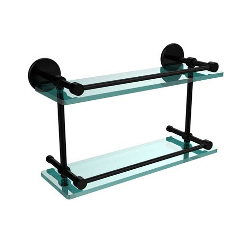Allied Brass 16 Inch Tempered Double Glass Shelf with Gallery Rail, Matte Black