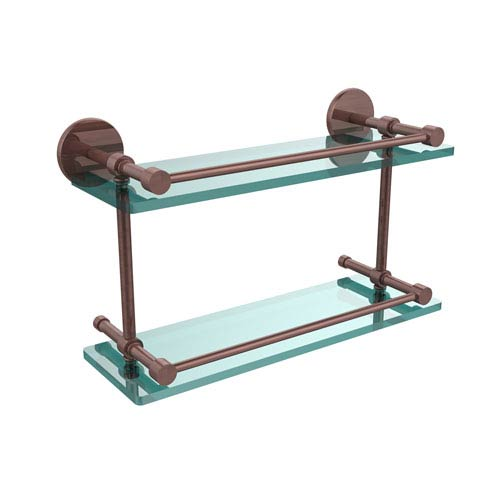 Allied Brass 16 Inch Tempered Double Glass Shelf with Gallery Rail, Antique Copper