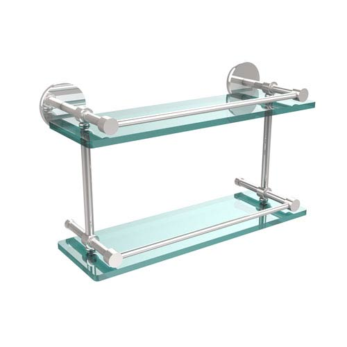 Allied Brass 16 Inch Tempered Double Glass Shelf with Gallery Rail, Polished Chrome
