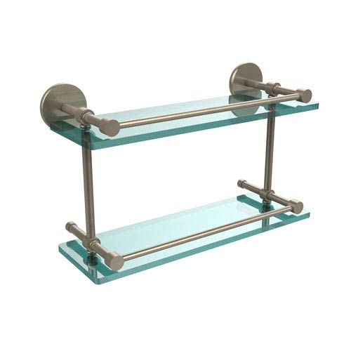 16 Inch Tempered Double Glass Shelf with Gallery Rail, Antique Pewter