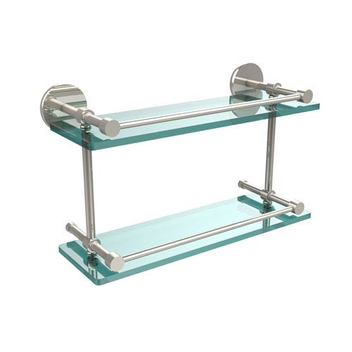 16 Inch Tempered Double Glass Shelf with Gallery Rail, Polished Nickel