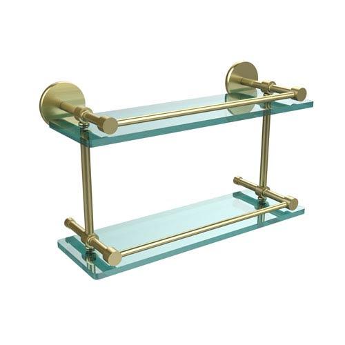 Allied Brass 16 Inch Tempered Double Glass Shelf with Gallery Rail, Satin Brass