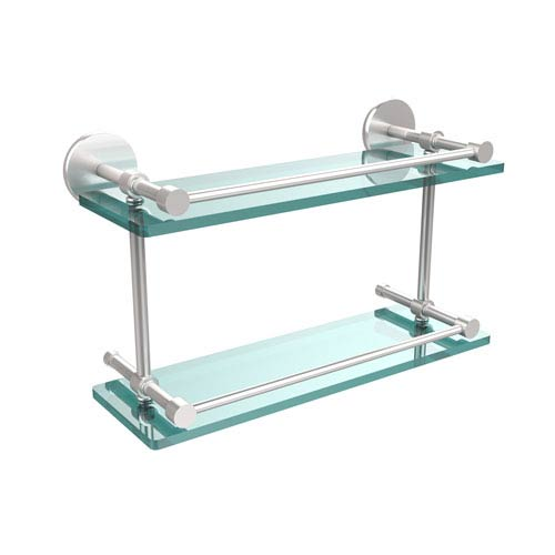 Allied Brass 16 Inch Tempered Double Glass Shelf with Gallery Rail, Satin Chrome