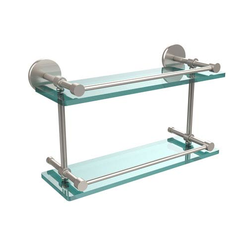 16 Inch Tempered Double Glass Shelf with Gallery Rail, Satin Nickel
