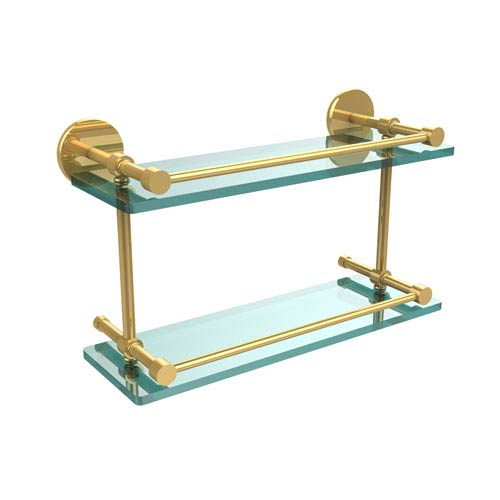 16 Inch Tempered Double Glass Shelf with Gallery Rail, Unlacquered Brass