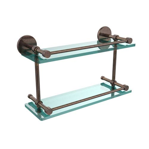 Allied Brass 16 Inch Tempered Double Glass Shelf with Gallery Rail, Venetian Bronze